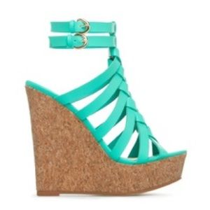 Shoe Dazzle Teal Wedges